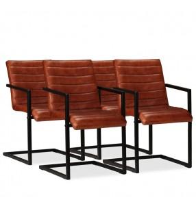 vidaXL Silla plegable de relajación de cuero auténtico marrón