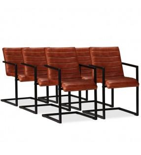 vidaXL Silla plegable de relajación de cuero auténtico negro