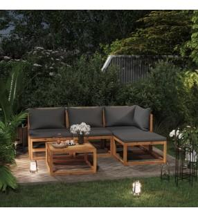 vidaXL Muebles de bar 7 piezas madera maciza sheesham cuero auténtico