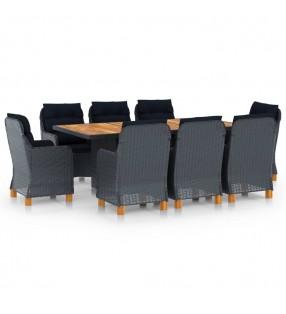 vidaXL Set mesa alta y taburetes de bar 5 piezas cuero sintético negro