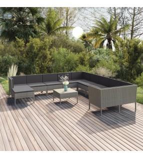 vidaXL Set de sofás de jardín 3 piezas y cojines ratán sintético gris