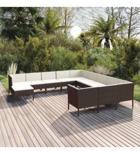 vidaXL Set de sofás de jardín 4 piezas y cojines ratán sintético gris
