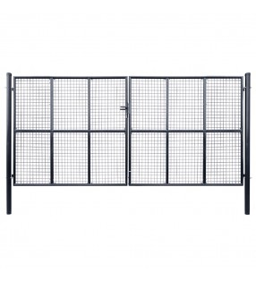 vidaXL Valla de tela metálica acero galvanizado verde 1,5x15 m