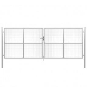 vidaXL Valla tela metálica y postes acero galvanizado verde 1,5x15 m
