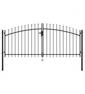 vidaXL Valla tela metálica con postes acero galvanizado verde 1,5x25 m