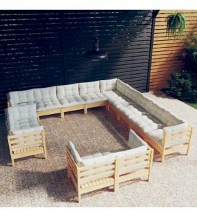 vidaXL Cobertizo triple para basura madera de pino y mimbre