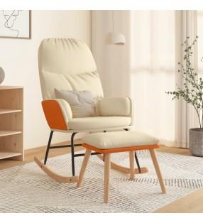vidaXL Mecedora con asiento curvo madera gris