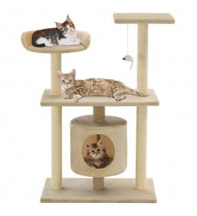 Rascador Para Gatos 105cm Color Beige Con Estampado De Patas Torre