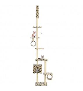 Rascador Para Gatos Xl 230-260 cm Color Beige Felpa Gimnasio