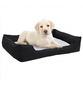 vidaXL Cama para perro con cojín acolchado talla S gris