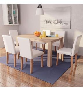 vidaXL Otomana de almacenamiento de cuero artificial blanco